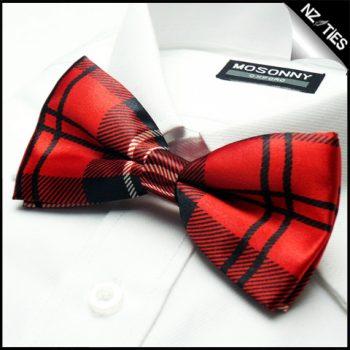 Mens Red & Black Tartan Bow Tie
