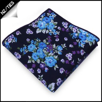 Black With Blue & Purple Floral Pocket Square