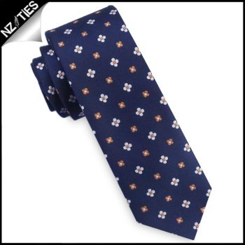 Midnight Blue With Floral Pattern Mens Skinny Tie