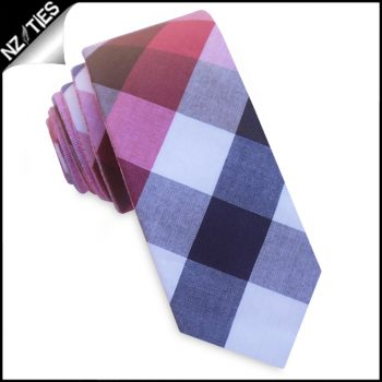 Pink, Red, Grey And Blue Diamonds Skinny Tie