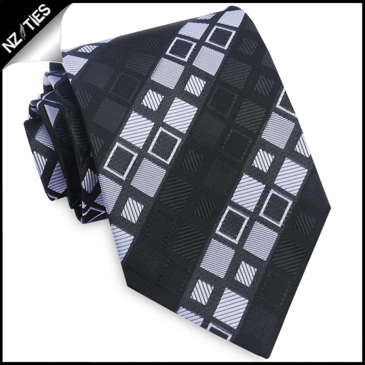 Black with Grey & White Squares Tie Set 2