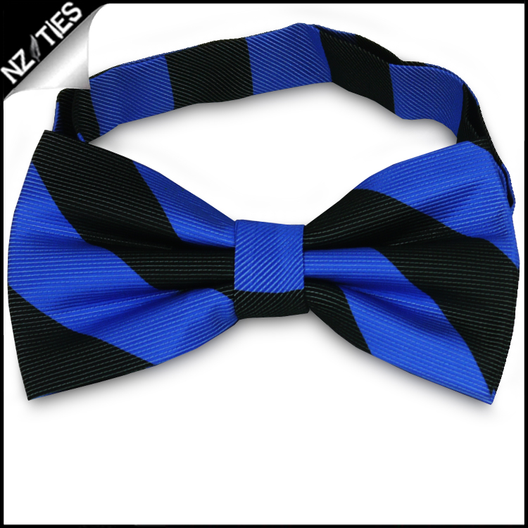 Blue & Black Stripes Mens Bow Tie