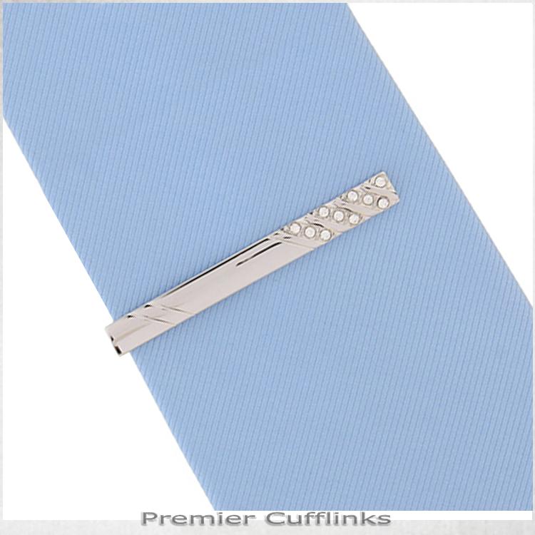 Silver Diamante Insets Tie Clip 2