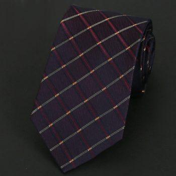 Maroon, Burgundy & Gold Crosshatch Silk Tie