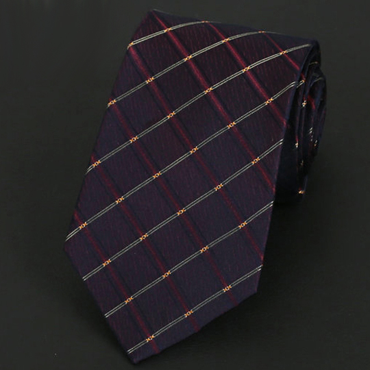 Maroon, Burgundy & Gold Crosshatch Silk Tie