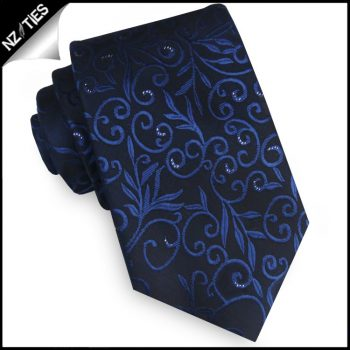 Black & Blue Floral With Highlights Mens Necktie