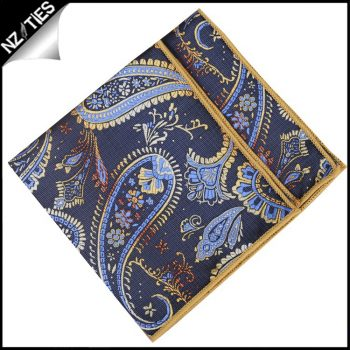 Mens Navy, Light Blue And Gold Paisley Pocket Square Handkerchie