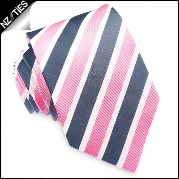 Pink, Dark Grey and White Stripes Mens Tie