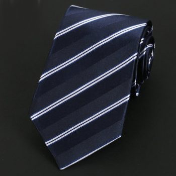 Dark Blue & White Stripes Silk Tie