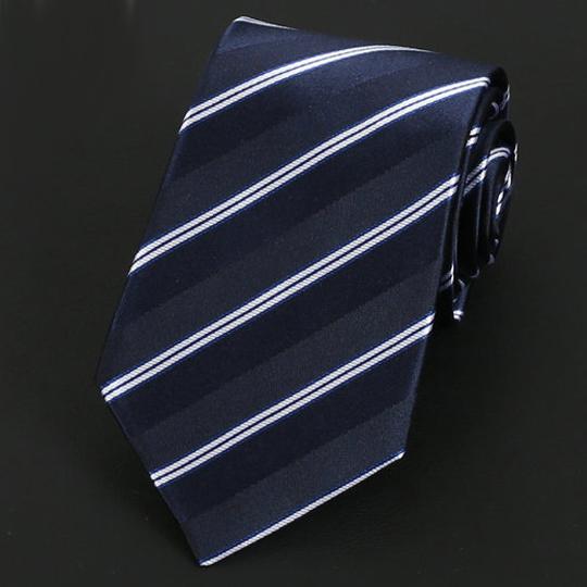 Dark Blue & White Stripes Silk Tie