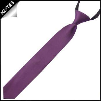 Boys Plum Grape Purple Pre-Tied Elastic Necktie