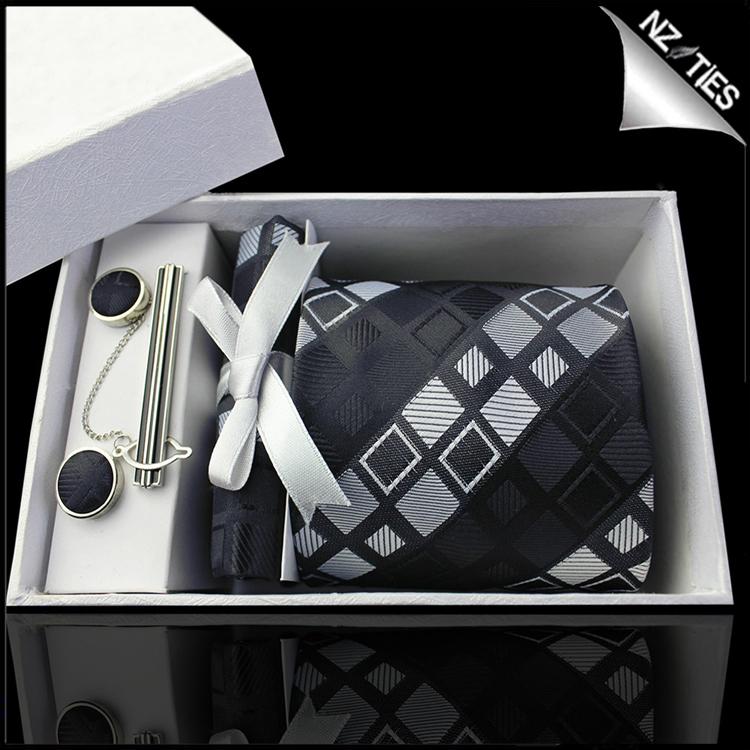 Black with Grey & White Squares Tie Set