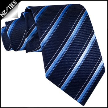 Midnight Blue With Sky Blue & White Stripes Mens Necktie