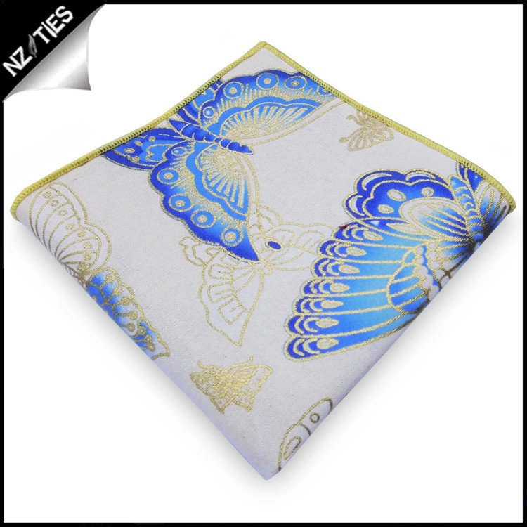 Off White with Blue & Gold Butterflies Pocket Square