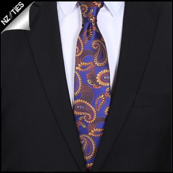 Purple Indigo With Gold Paisley Mens Tie