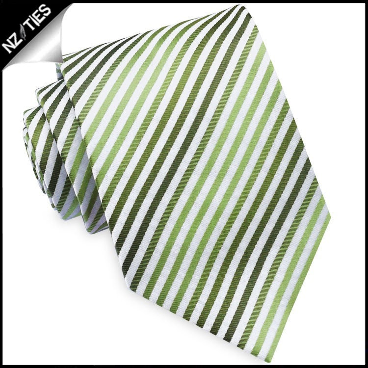 White with Green & Olive Stripes Mens Tie