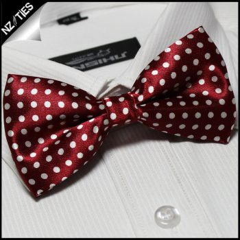 Dark Scarlet Red With White Polka Dots Bow Tie
