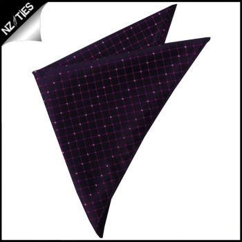 Black With Pink & Purple Grid Pocket Square