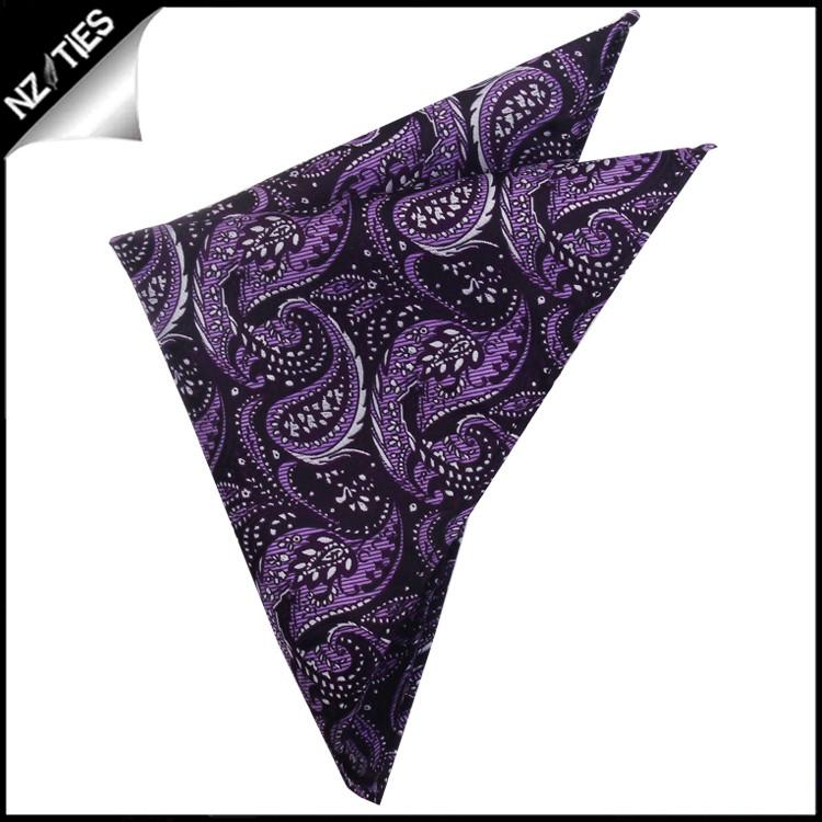 Dark Purple with Lavender & White Floral Design Pocket Square