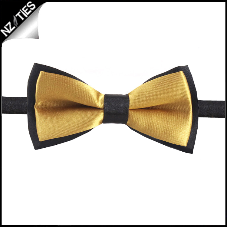 Boys Gold with Black Back Bow Tie
