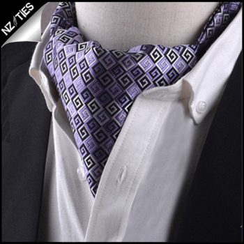 Purple, Black & White Greek Key Ascot Cravat