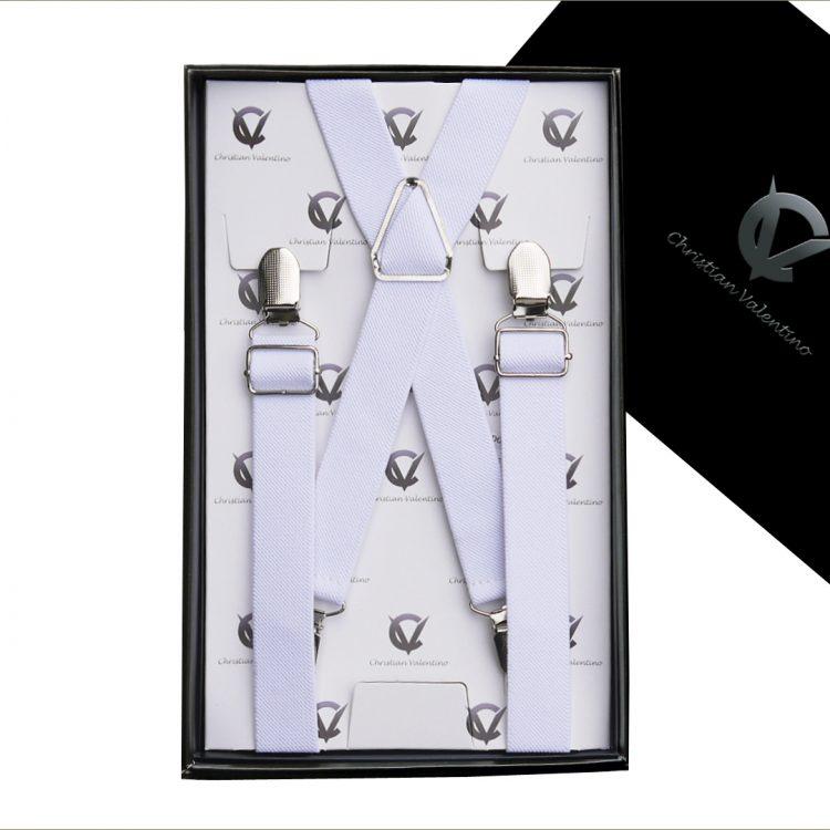 White X2.5cm Boy's Braces Suspenders