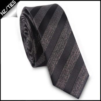 Black With Glittery Specks Stripes Skinny Tie