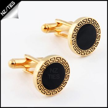 Mens Classic Gold With Black Inset Cufflinks