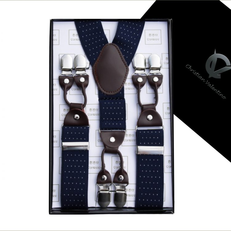 Midnight Blue Pin Dot Leather Attachment 3.5 Braces
