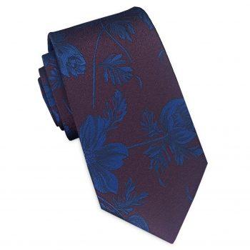 Maroon With Blue Floral Slim Tie