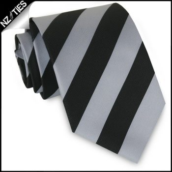 Silver & Black Stripes Mens Sports Necktie