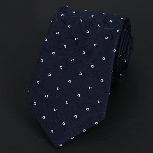 Dark Blue Floral Pattern with White Squares Silk Tie