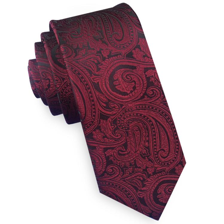 Burgundy & Black Paisley Mens Skinny Tie