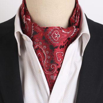 Black, Red, White & Grey Paisley Ascot Cravat