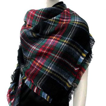 Red, Blue, Green, Yellow & White Tartan Womens Scarf