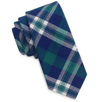 Green, Blue And White Tartan Plaid Skinny Tie