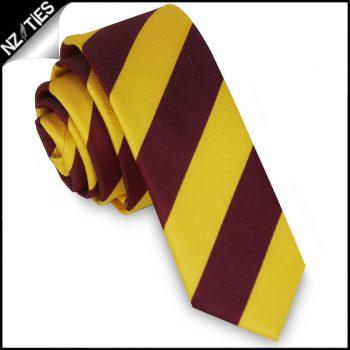Yellow & Maroon Stripes Mens Skinny Necktie