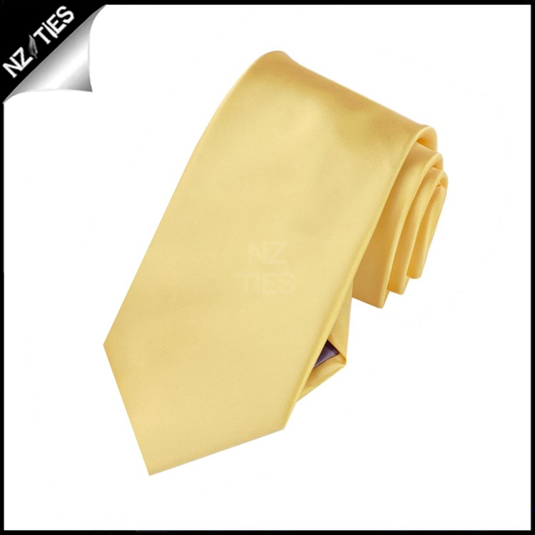 Boys Light Gold Yellow Plain Necktie