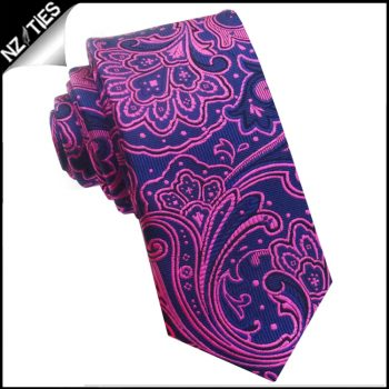 Dark Blue With Bright Pink Floral Design Tie