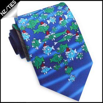 Light Blue Santa Fishing Christmas Tie