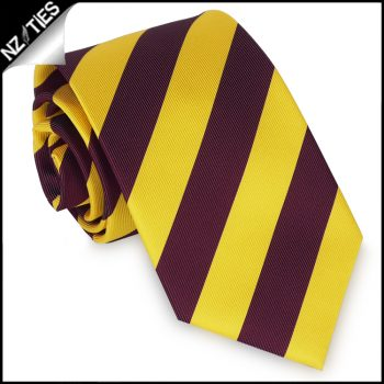 Yellow And Maroon Stripes Mens Sports Necktie