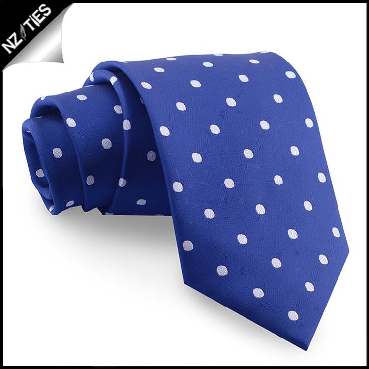 Navy Blue Polka Dot Mens Tie