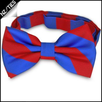 Red & Blue Stripes Mens Bow Tie