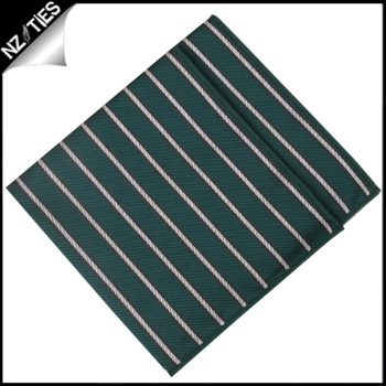 Emerald Green With Thin White & Brown Stripes Pocket Square