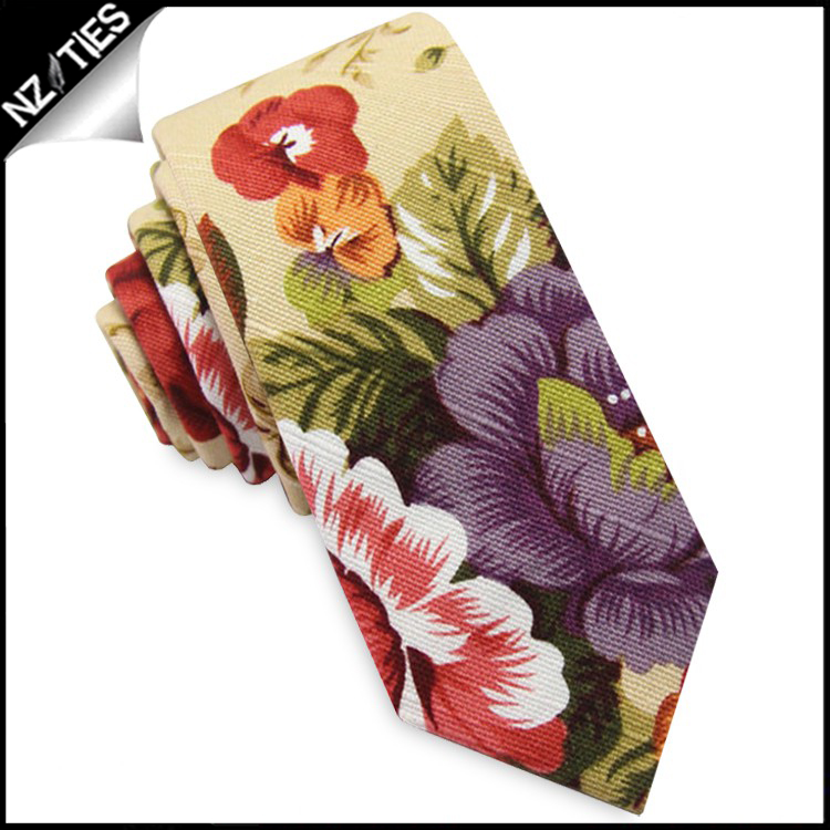 Tan with Multicoloured Flowers Men's Skinny Tie
