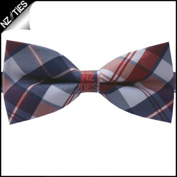 Blue, Red & White Tartan Bow Tie