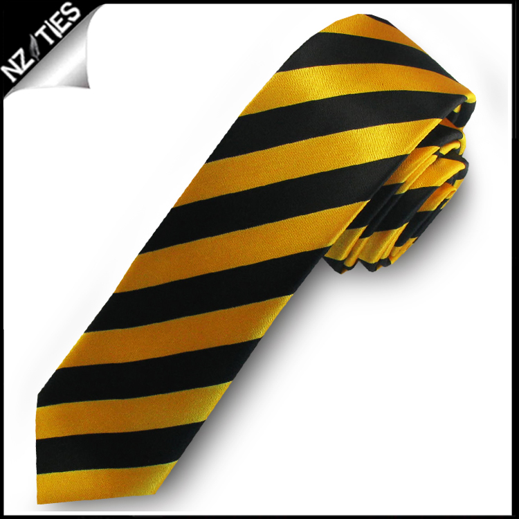 Yellow & Black Mens Striped Skinny Necktie
