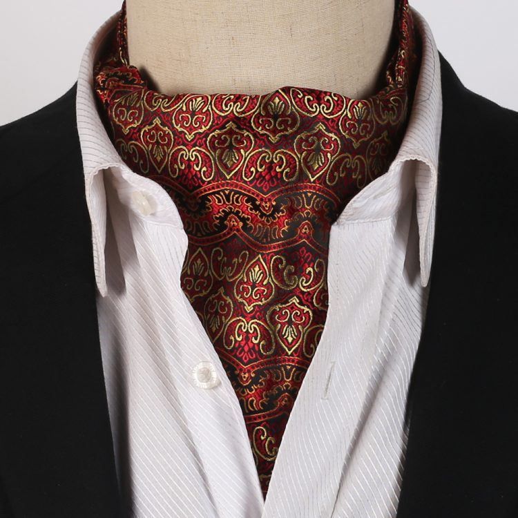 Red with Gold Damask Design Ascot Cravat