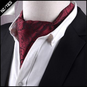 Black & Red Paisley Ascot Cravat