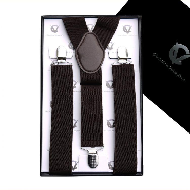 Dark Brown Y3.5cm Men's Extra Large Braces Suspenders